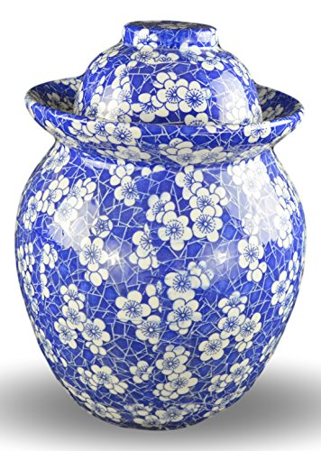 Porcelain Pickling Jar with 2 Lids Fermenting Pickling Kimchi Crock Food Storage Blue Cherry Blossom (10 IN) by Festcool