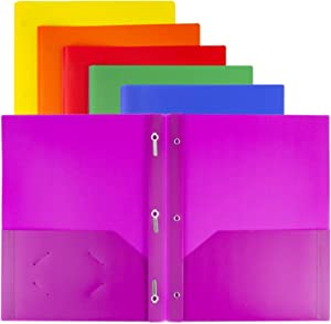 Dunwell 3-Prong Plastic Folders with Pockets (24 Pack, Assorted), 3 Prong Folders with Labels, 2-Pocket School Folders with Prongs, 24 Neon Pocket Folders with Fasteners, Tear-Resistant, Acid Free