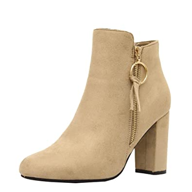 e34c1ed7e990a Ladies Womens Mid High Block Heels Casual Buckle Chelsea Ankle Boots Shoes  Size 3-8