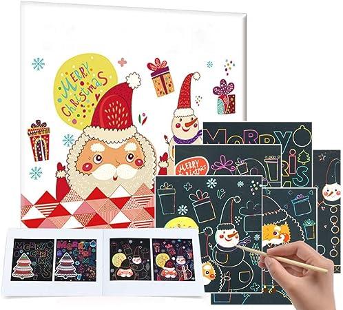 Savlot Dessin Artisanat Kit De No/ël Artisanat Art D/écoration Magie Scratch Art Peinture Papier avec Dessin B/âton Enfants Jouet Jouet /Éducatif