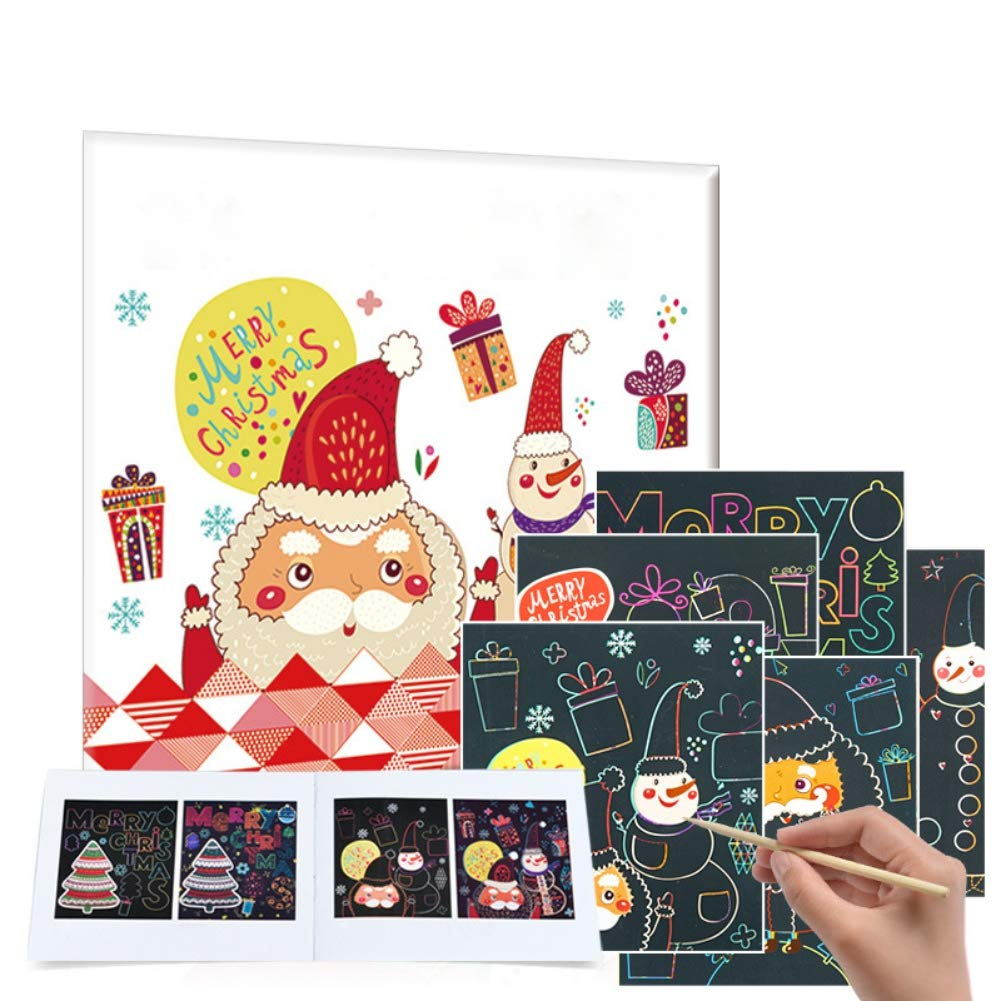 Luxsea 6PCS Christmas Scratch Painting Kits for Adults Kids Rainbow Color Craft Kit Toys for Kids Xmas Gifts by uxsea