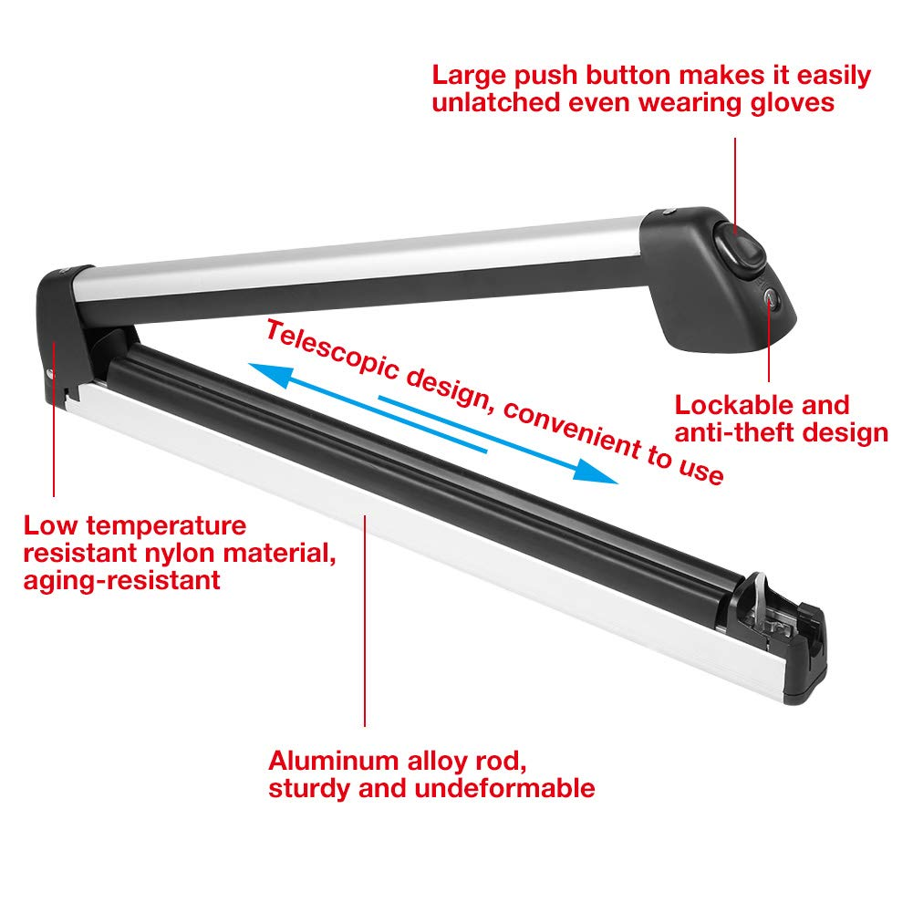 Qiilu Lockable Ski Roof Rack Carrier Snowboard Top Holder Can Transport 2 Skis and 4 Snowboards by Qiilu