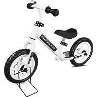 """COSTWAY 12"""" Draisienne Vélo Enfant, Vélo sans Pédales pour Fille Garcon de 2-6 Ans, Hauteur Réglable Cadre en Acier au Carbone (Blanc)"""