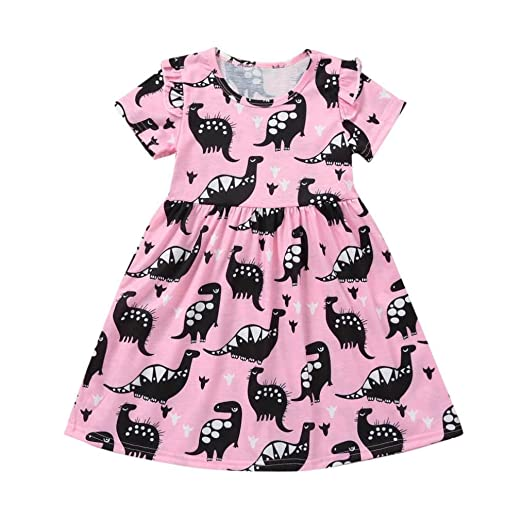 c412b702e Lavany Little Girls Dresses Cute Baby Girl Dinosaur Print Party Dress  Outfits Clothes (3 Years