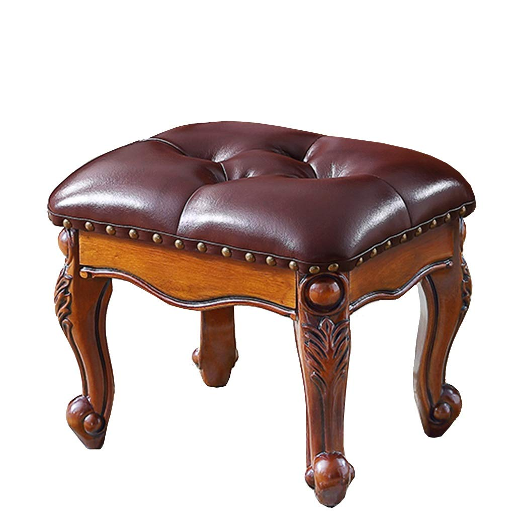 Nwn American Stool, Coffee Table Stool, Living Room Sofa Solid Wood Shoe Stool Luxury Upholstered Leather,Queen Anne Legs 36.5×30×30cm (Color : Brown)