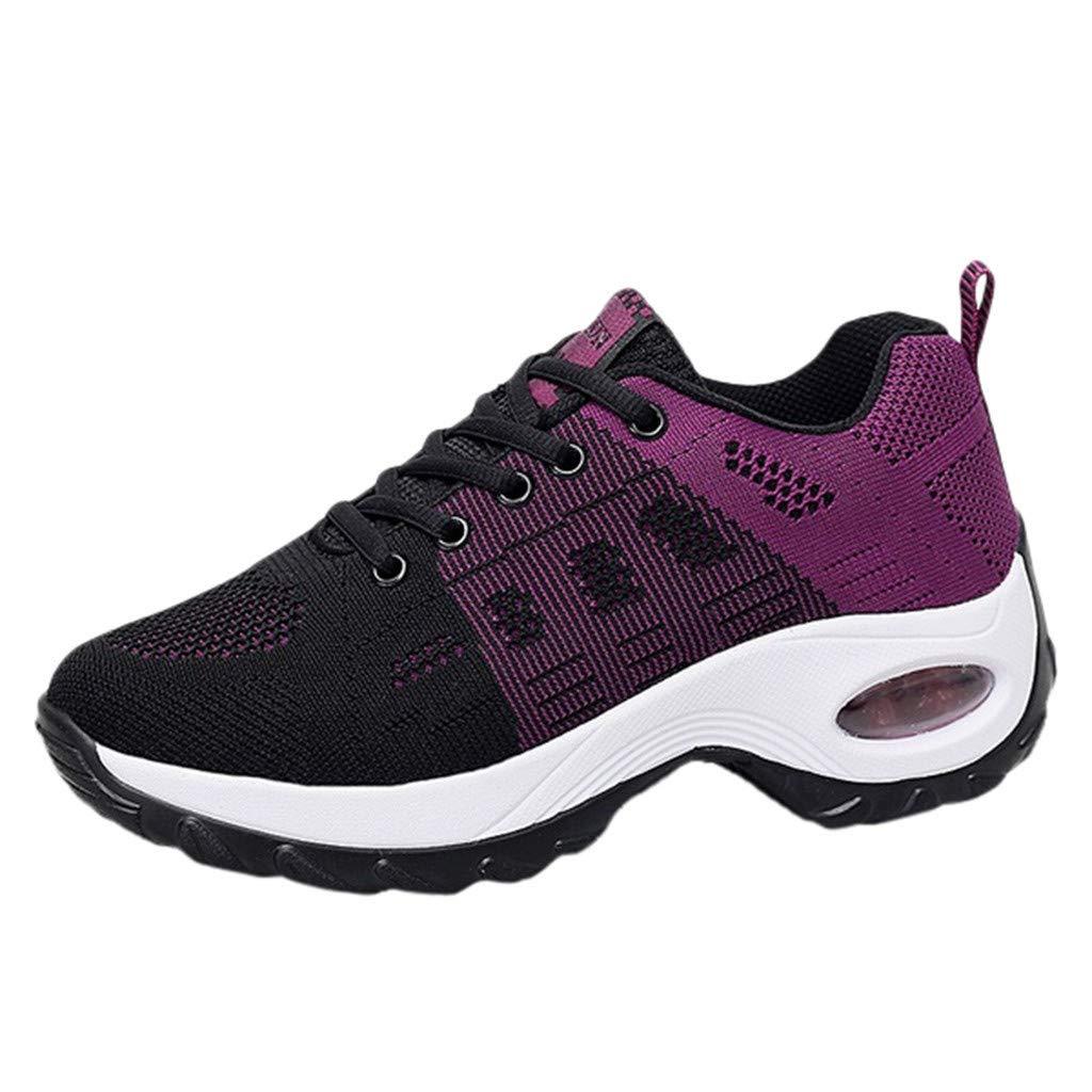 HENWERD Women's Leisure Mesh Beathing Increased Thick Bottom Athletic Sneakers Shoes (Purple,7 US)