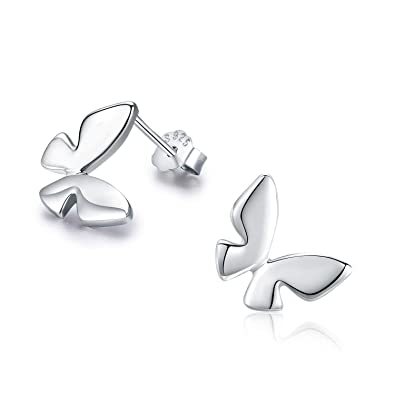 b5ca9c00b Butterfly Earrings Silver Butterfly Earrings for Women 925 Sterling Silver  Fine Butterfly Stud Cute Earrings Gift for Girls Stud Earring for Kids: ...