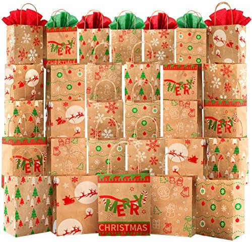 "Kidtion 30 PCS Christmas Bags for Gift with Tissue Paper, 6 Styles Gift Bags Bulk with Handles, 7.5""x9""x3.5"" Larger Craft Bags, Reusable Xmas Paper Bags & Goody Bags, Party Bags, Favor Bags"