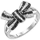 0.20 Carat (ctw) 10K Gold Round Black & White Diamond Ladies Knot Right Hand Ring 1/5 CT