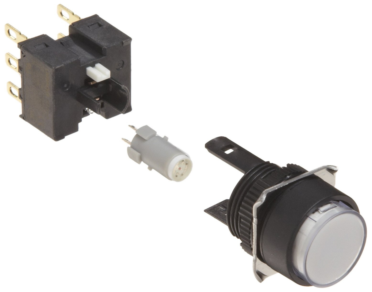 Omron A165L-TWM-24D-2 Projection Type Pushbutton and Switch, Solder Terminal, IP65 Oil-Resistant, 16mm Mounting Aperture, LED Lighted, Momentary Operation, Round, White, 24 VDC Rated Voltage, Double Pole Double Throw Contacts