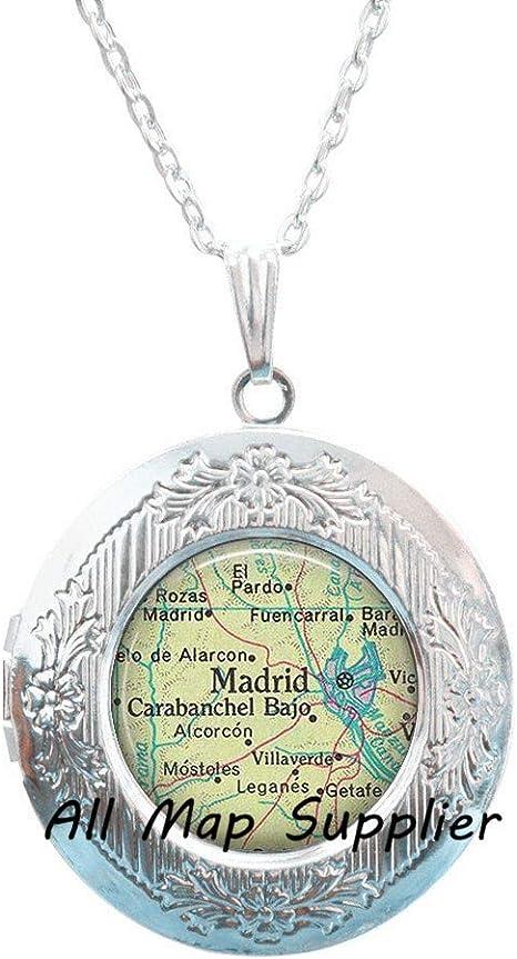 Encantador Collar con camafeo, Madrid mapa collar con camafeo ...