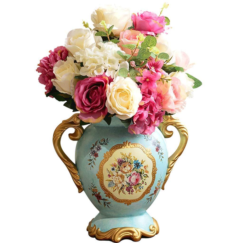 牧歌的なバイノーラル花瓶素朴なクリエイティブセラミックフラワーアレンジメントリビングルームのポーチの装飾 LCSHAN (Color : Ceramic-Blue, Size : 52cm*17.5cm*31cm) B07T2GQNCS Ceramic-Blue 52cm*17.5cm*31cm