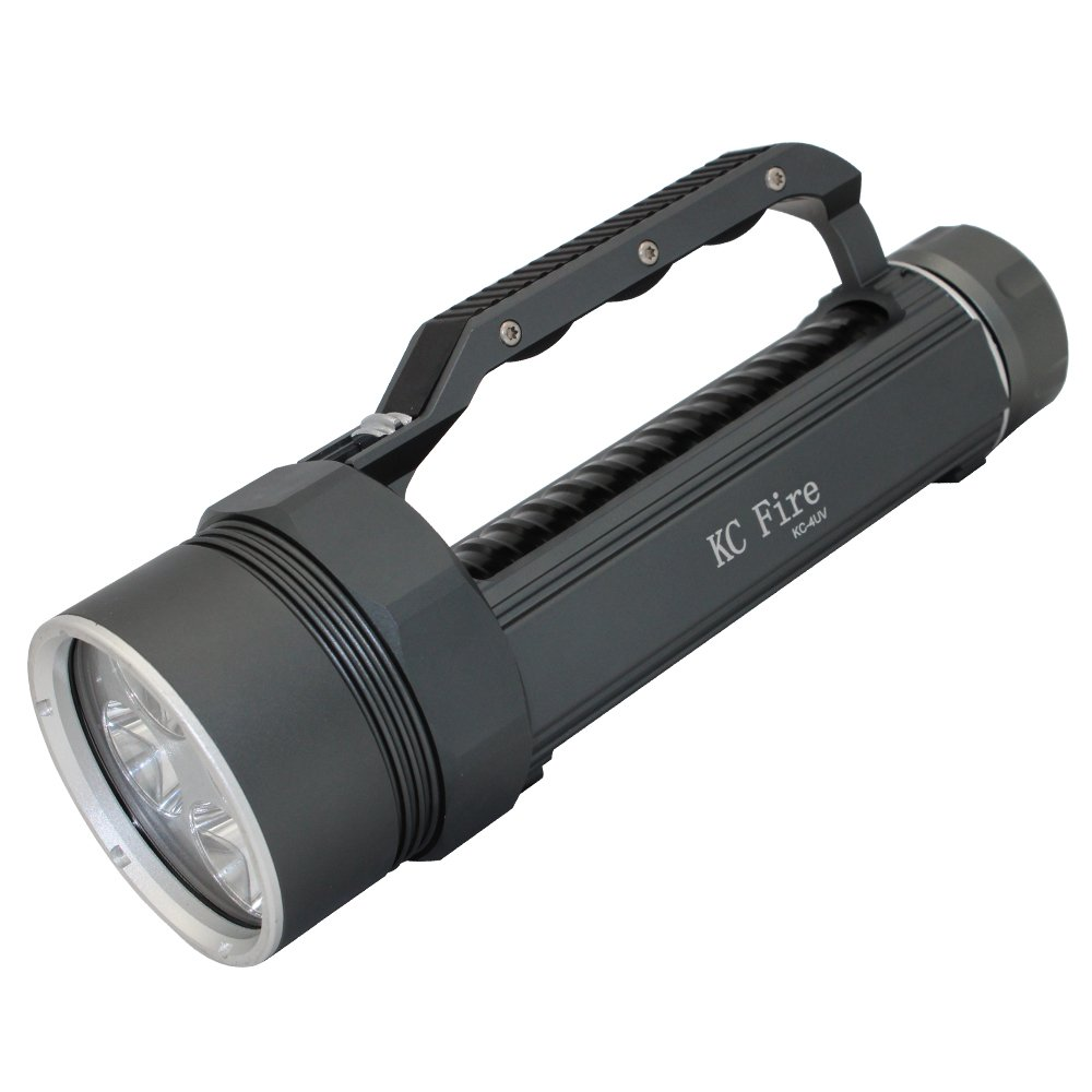 Professional Diving Flashlight Blacklight , KC Fire Ultra Bright 4000 Lumen Underwater 100 Meter, 395nm UV Ultraviolet Light, Batteries and Charger Included by KC Fire (Image #3)