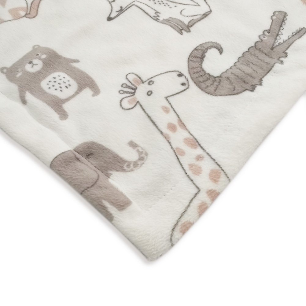 Grey Receiving Blankets Boritar Baby Blanket Soft Minky with Double Layer Dotted Backing Lovely Polar Bear Printed 30 x 40 Inch