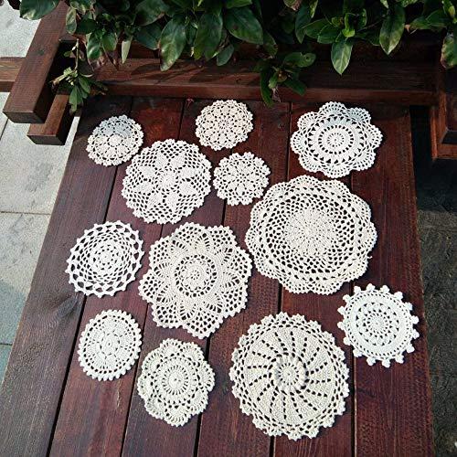 ForShop 12Pcs Cotton Hand Made Crochet Doilies Cup Mat Pad Coaster 12 Vintage Crochet Motifs 9-25cm White Beige