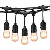 49Ft Incandescent Outdoor String Lights, Commercial Globe Lights with 15 Edison Vintage Dimmable Bulbs, Weatherproof Connectable Hanging Strand for Bistro Porch Patio Garden Deck Cafe UL Listed