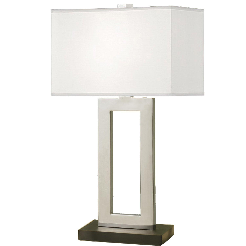 Artiva USA Geometric, Contemporary Design, 29-Inch Chrome & Black Contrast Table Lamp with Rectangular Hardback Shade