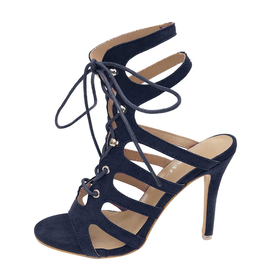 Kauneus Strappy Lace Up Open Toe High Heel Gladiator Ankle Strap Buckle Sandals for Women Blue by Kauneus Fashion Shoes
