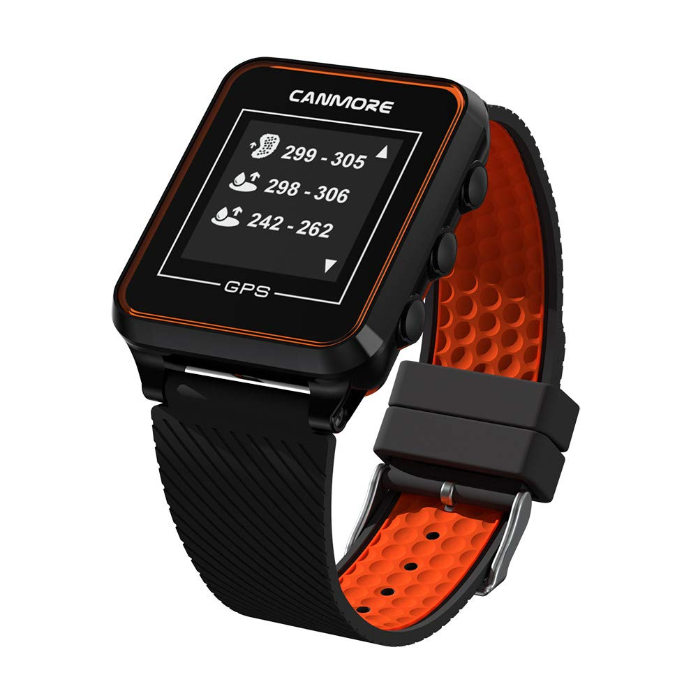 CANMORE TW-353 GPS Golf Watch – Key Course Data and Scorecard on Your Wrist – Minimalist User Friendly – 38,000 Free Courses Worldwide and Growing – 4ATM Waterproof – 1-Year Warranty Orange