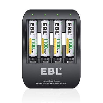 EBL iQuick Cargador de Pilas, 4 Ranuras Independiente Ni-MH AA AAA Pilas Recargables con 4 Ni-MH AAA 1100mAh Pilas con Dos Modos Carga(Micro USB y ...