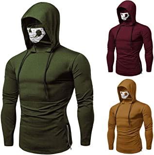 Shakers123 Pullover Hoodie for Men Hoodies for Men Zip up Long Sleeve Pure Color Sport Coat Tracksuits Mask Skull Sweatshirt Tops Blouse