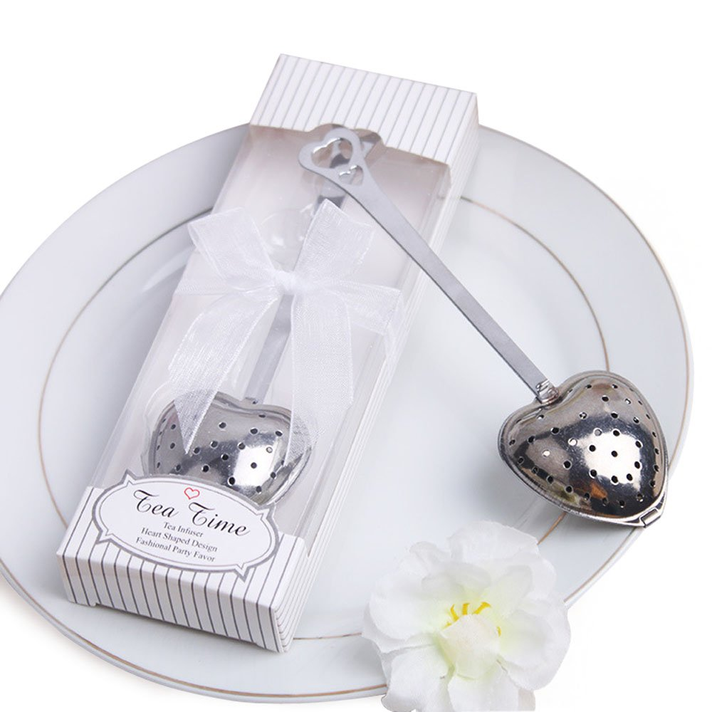 dngcity Wedding Favor Tea Time Heart Shaped Tea Infuser Spoon Set of 20