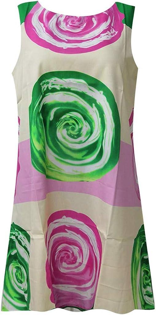 Gibobby Womens Vintage Boho Printed Mini Dress Sleeveless Summer Casual Loose Rose Print Party Dresses Beach Sundress