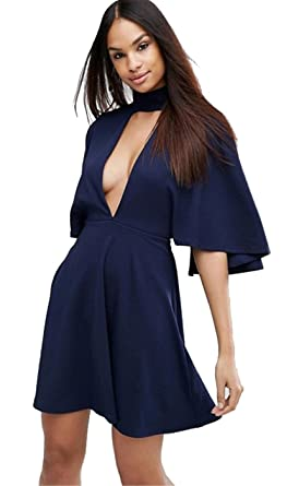 8f836a4e0c Sexy Cloak Poncho Cape Style High Mock Choker Plunge Deep V Neck Mini A  Line Dress