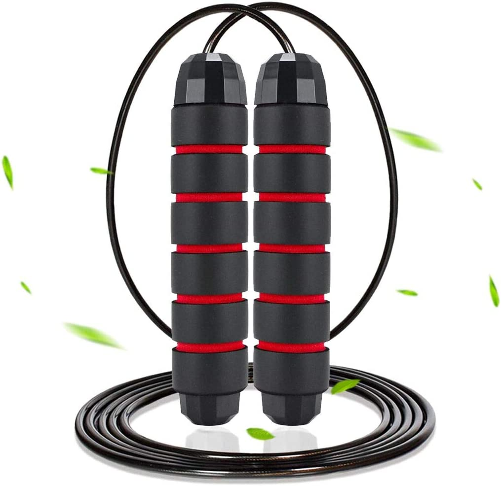 GOXRUNX Jump Rope Tangle-Free w// Ball Bearing Cable Speed Skipping Rope 2-Pack