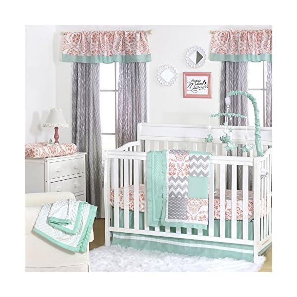 Medallion Medley Coral & Mint Baby Crib Bedding – 11 Piece Sleep Essentials Set