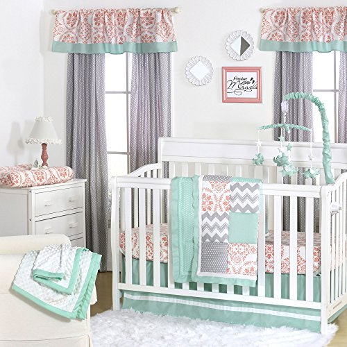 - Medallion Medley Coral & Mint Baby Crib Bedding - 11 Piece Sleep Essentials Set