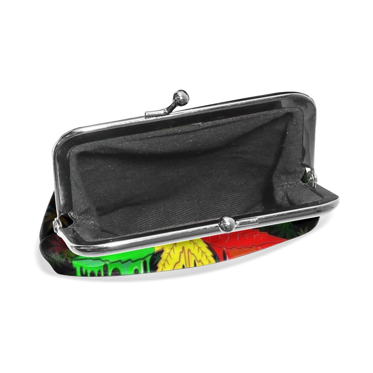 Womens Marijuana Leaf Rasta Colors Dripping Buckle Coin Purses Soft Leather Wallet