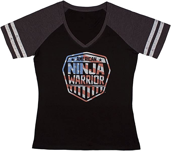 American Ninja Warrior Americana Womens V-Neck T-Shirt - Vintage Style - Perfect for Gifting