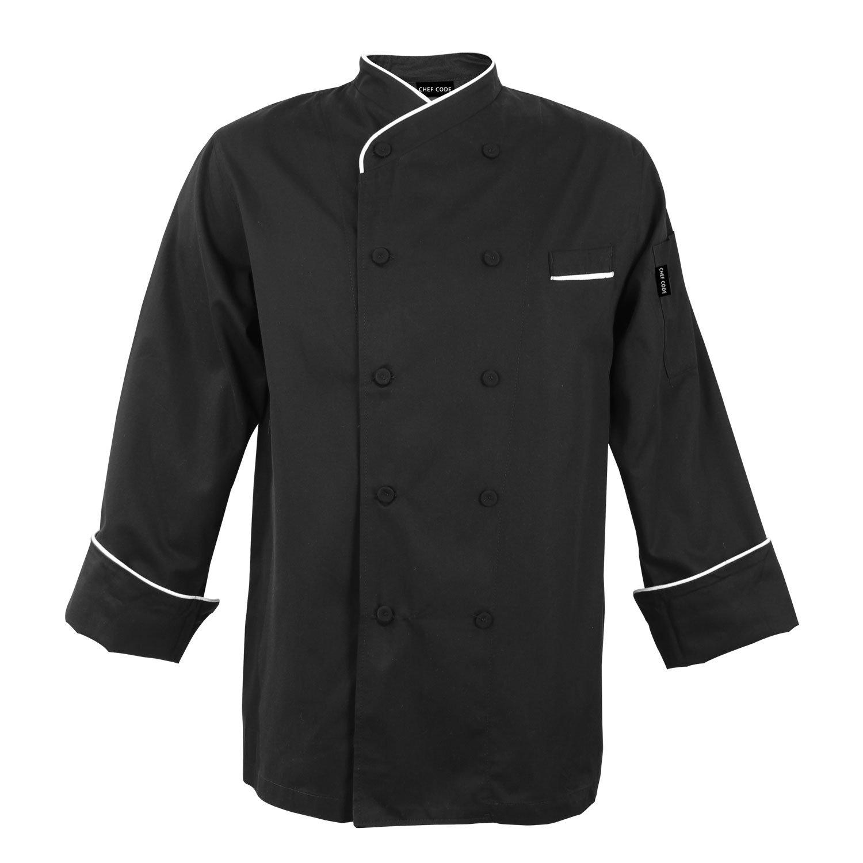 Chef Code Gossypium Prestige Executive Chef Coat Unisex 100% Egyptian Cotton (M, Black) by Chef Code