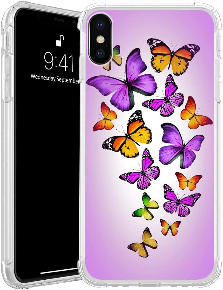iPhone XR Case,Colorful Monarch Butterfly iPhone XR Clear Shockproof Cases for Girls,Lightweight Soft TPU Silicone(Full-Body) Transparent with Design Flexible Cover Case for iPhone XR Pink Rianbow