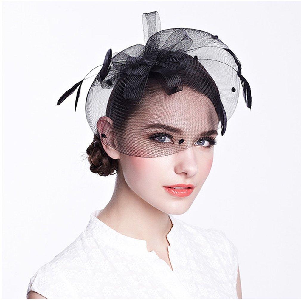 Krastal Womens Fascinators Black Feather Mesh Gauze Pillbox Hat Wedding Headband