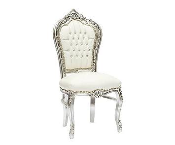 SOLO MOBILI Seulement Meubles Chaise Baroque Blanche Et Argent