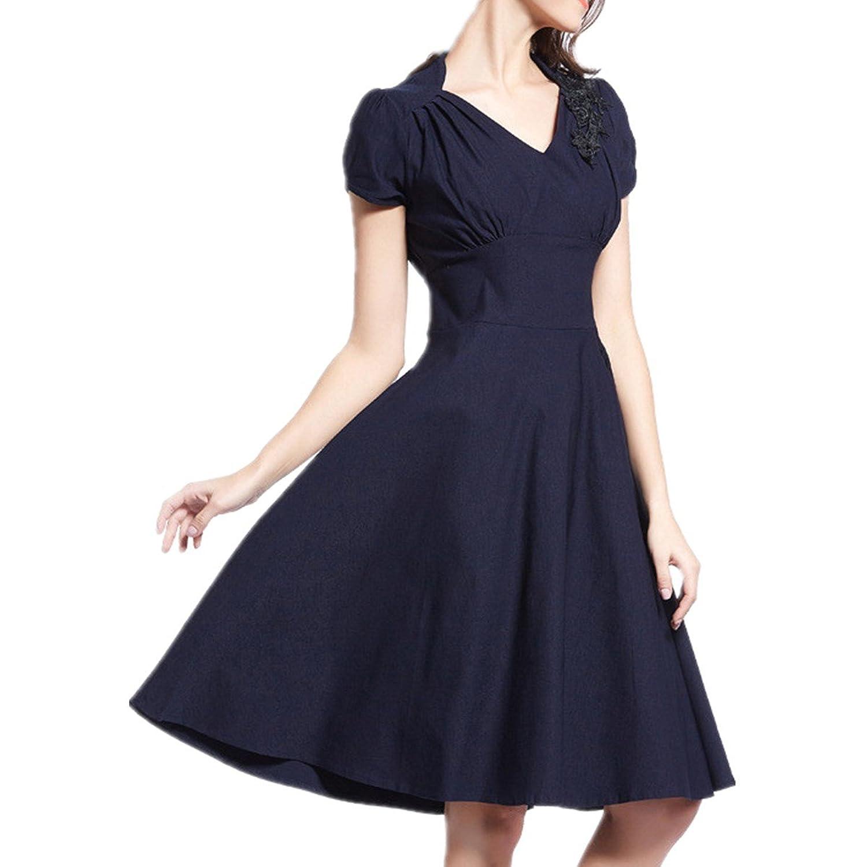 LOBTY Damen A Linie Kleider Plissee Dress 50er Jahre VintageKleid Hepburn Rockabilly Knielang