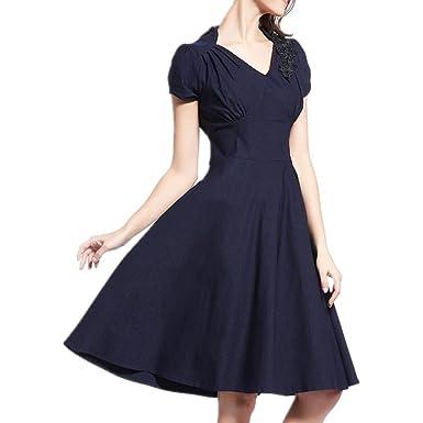 LOBTY Damen A Linie Kleider Plissee Dress 50er Jahre Vintage-Kleid Hepburn  Rockabilly Knielang Kleid mit Blumen Retro Audrey Rock Hight Waist 3 Faben   ... b755e14647