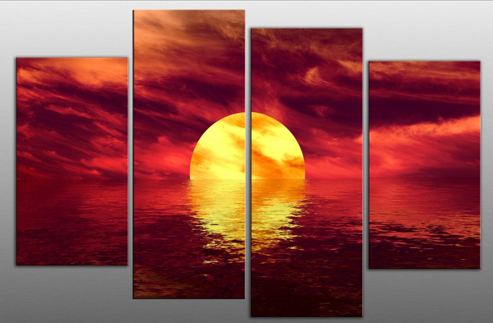 Large Abstract Seascape Sunset Canvas Art Picture 4 Pieces Multi Panel Split Canvas Completely Ready To