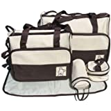 In 5 Colours, 5 Piece Baby Changing Bag - Brown