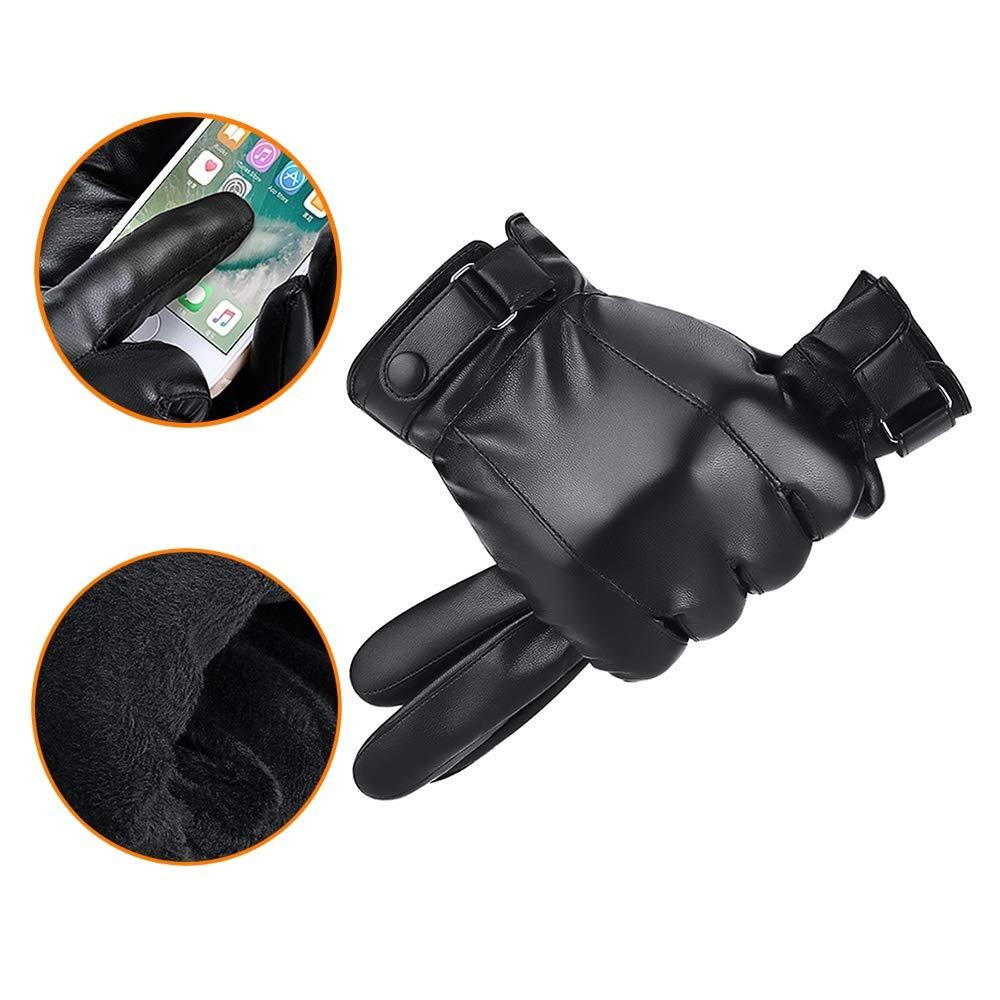 Lyq&ydst Winterhandschuhe, Kalter Und Warmer Padded Einen.Kreislauf.durchmac Gloves, Abriebfeste Herren Outdoor Ski-Handschuhe, Plus Baumwolle Sport-Gloves (schwarz)