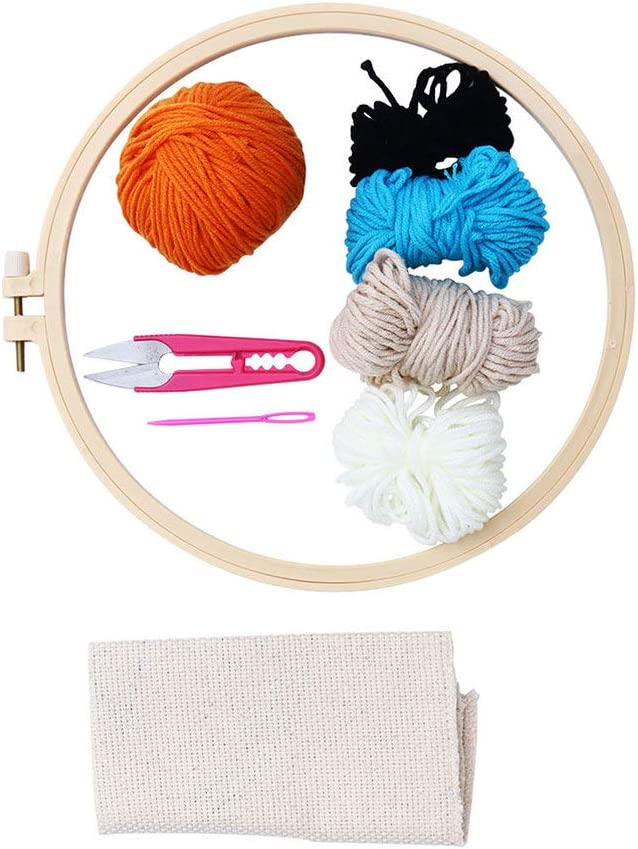 HEALLILY 1 Set Punch Needle Embroidery Starter Kits Threader Fabric Embroidery Needles Stitching Punch Pen Set Craft Tool for Beginner Rainbow Style