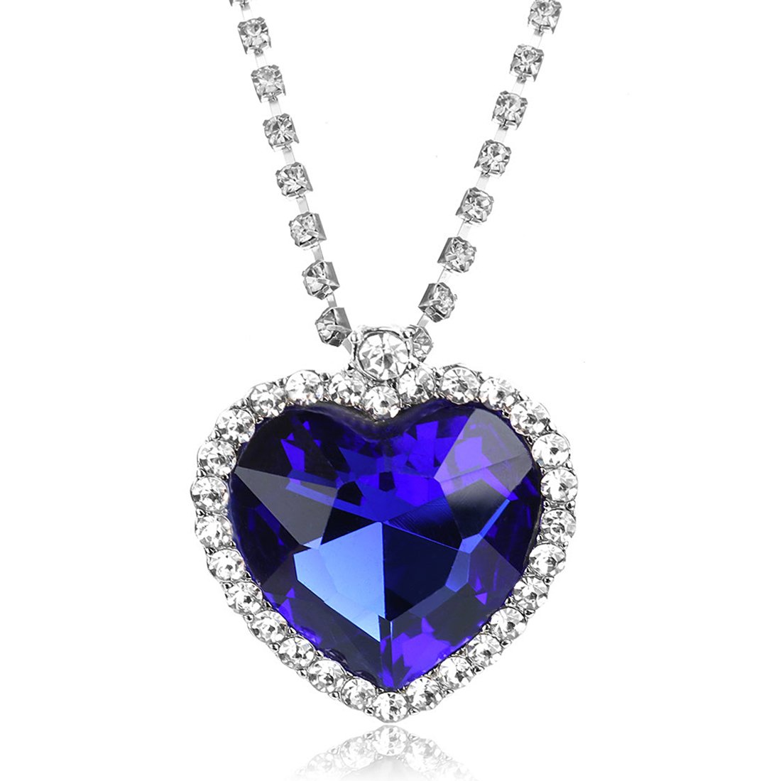 of heart pendant b jewelry bling rhinestone woman blue crystal necklace jvfp ocean