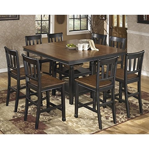 Ashley Owingsville 9 Piece Counter Height Dining Set in Brown