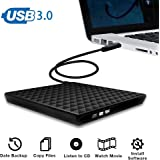 External CD Drive, Vansky USB 3.0 External DVD Drive for Laptop Touch Control Slim CD DVD +/-RW Burner Player Writer Rewriter for Mac Windows 10/8/7 Notebook PC Desktop Macbook Pro (Diamond Surface)