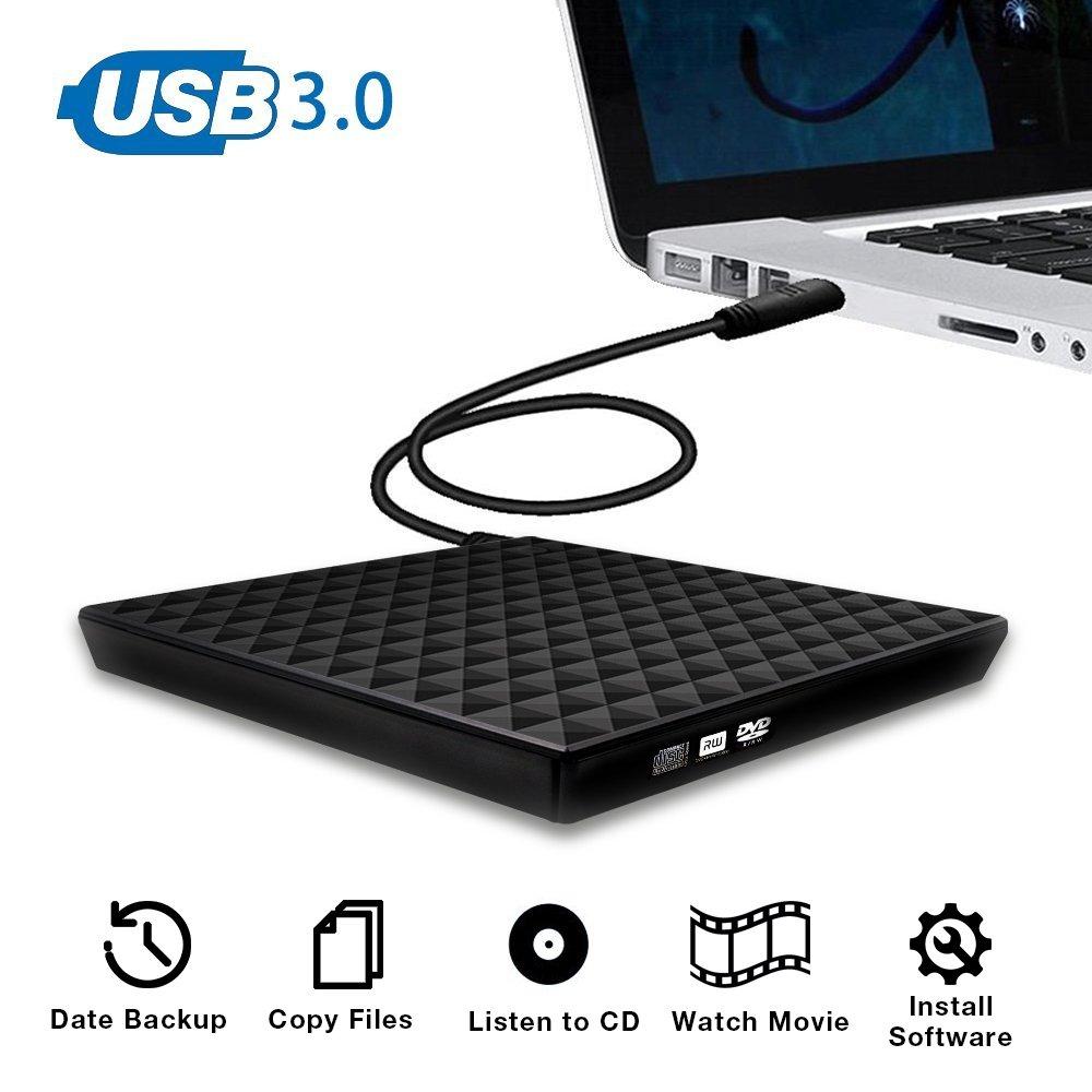 External CD Drive, Vansky USB 3.0 External DVD Drive for Laptop Touch Control Slim CD DVD +/-RW Burner Player Writer Rewriter for Mac Windows 10/8/7 Notebook PC Desktop Macbook Pro (Diamond Surface)