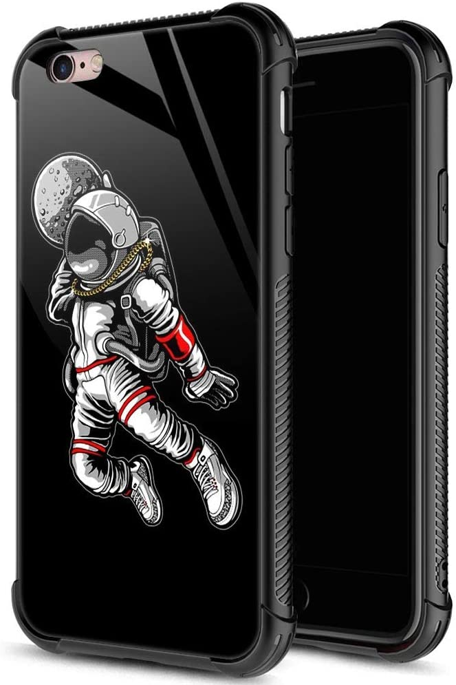 iPhone 6s Plus Case,9H Tempered Glass iPhone 6 Plus Cases for Boys Girls,Cute Astronaut Dunk Pattern Design Printing Shockproof Anti-Scratch Case for Apple iPhone 6/6s Plus 5.5 inch Astronaut