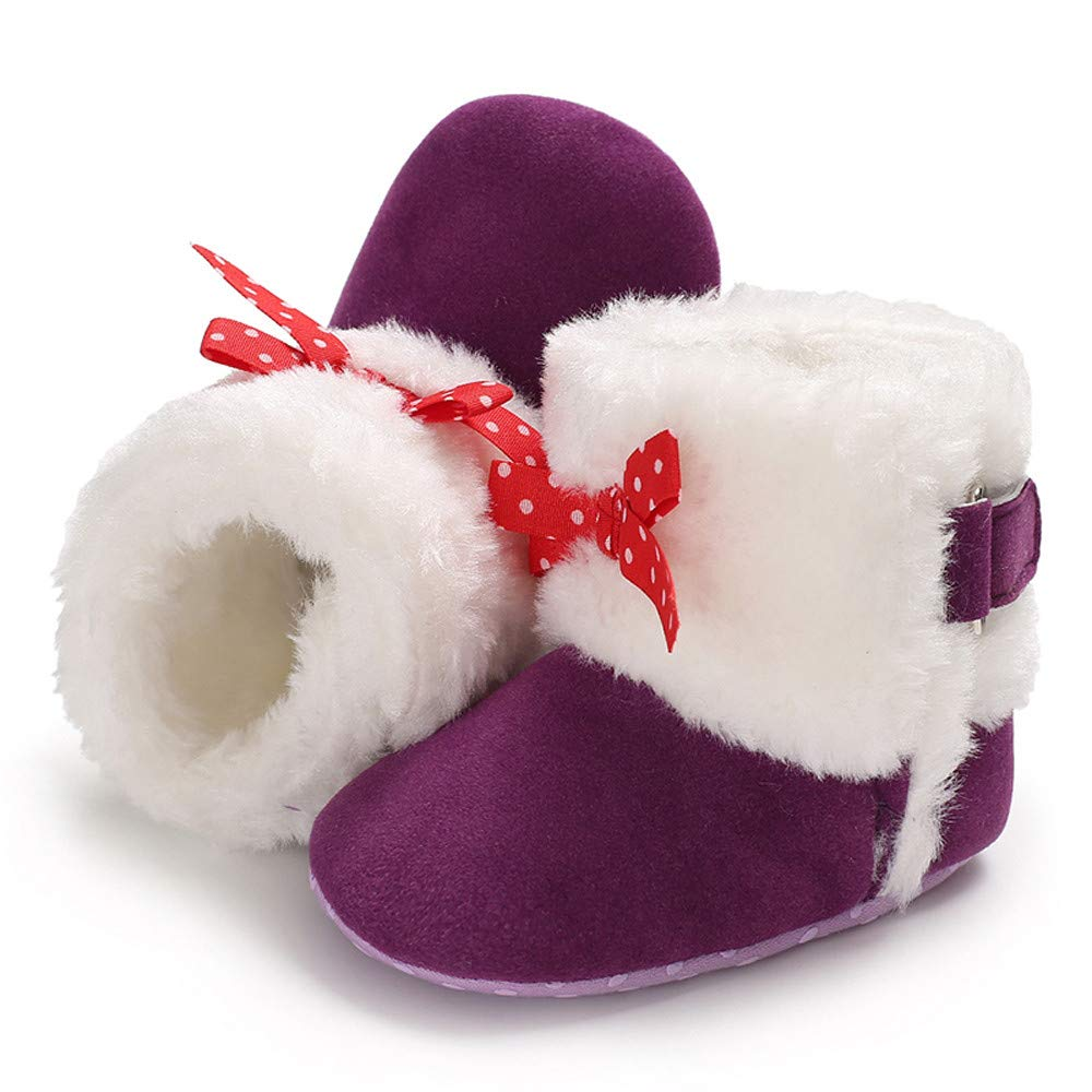 Weiyun Weiyun Baby Girl Soft Booties Bow Solid Color High Boots Boots Toddler Shoes Snow Boots