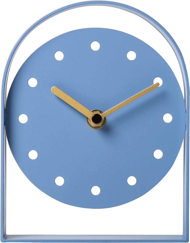 NIKKY HOME Reloj de Mesa de Hierro silencioso Sin tictac para Sala de Estar Dormitorio Decoraciones para el hogar 13 x 3 x 14 CM Azul